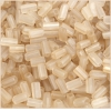 Tubes Square Beads 7X3.4mm Square Hole Light Gold Luster Matte